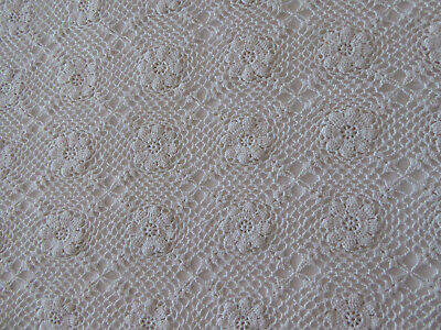 Large French Handmade Vintage Crochet Cotton Bed Cover Throw Tablecloth