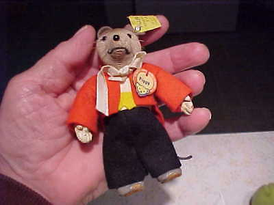 Vintage Old 1950's German Germany RARE STEIFF Pippy Mouse Doll Toy Button In Ear