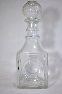 1950's Vintage Glass Decanter With Glass Stopper, I.W Harper, Barware