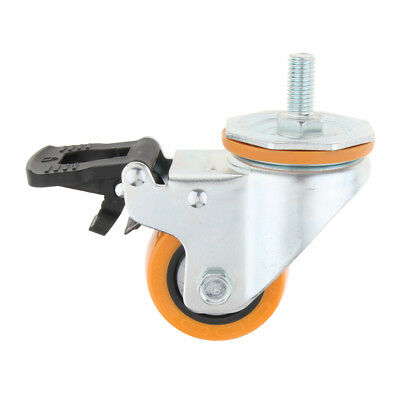 PU Industrial Caster Wheel Dual Brake Single Bearing for Home Office Table