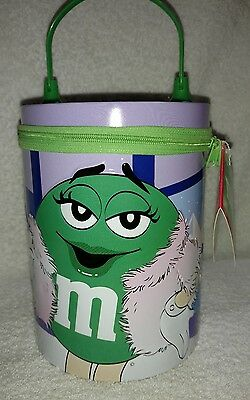 M&M's 2003 Round Zipper Lunchbox With Green Character