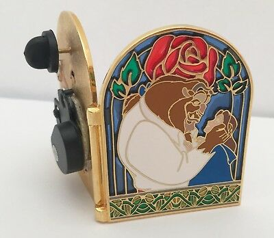 Beauty And The Beast 10Th Anniversary Hinged Stain Glass Disney Pin,limited 5000