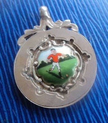 Attractive Sterling Silver & Enamel Football Fob Medal h/m 1931 Chester