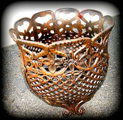 Antique Bronze Metal Flower Plant Basket Weave Design Pot Stand/Holder Heavy-NEW