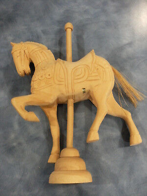 "Vintage 13"" Hand Carved Wood Carousel Horse with stand, ready for paint or stain"