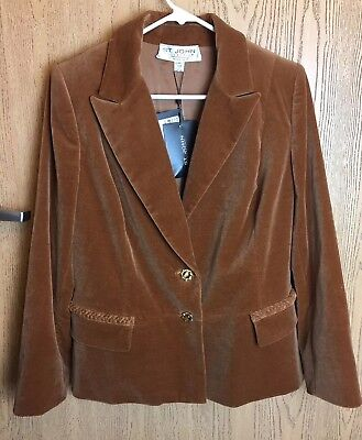 $980 St. John Collection Marie Gray Blazer Sz 12 Cotton Blend Caramel Velvet