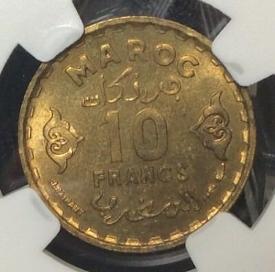 1371 / 1952 Morocco 10 Francs NGC MS65 Spain Algeria
