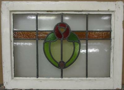 "MID SIZE OLD ENGLISH LEADED STAINED GLASS WINDOW Pretty Floral Band 24"" x 17.25"""