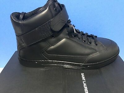 a7237f6dff6a7 SAINT LAURENT YSL Antibe Leather Sneakers Black Men s Size 13 (UK 46 ...
