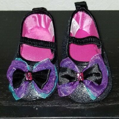 Spencers Gifts Infant Baby Girl Silver Glitter Chiffon Bow Baby Doll Shoes 6-12M