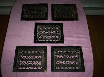 5 Antique Vintage Cast Iron Floor Wall Grille Heat Grate Registers W/ Louvers