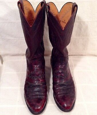 a96c6a86346 MENS 1883 LUCCHESE Black Cherry Full Quill Ostrich Boots 9D w/ Exotic Uppers