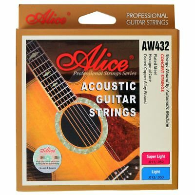 1X(Alice AW432L 1 Set Acoustic Guitar Strings 012-053 Light,Super Light CoppeM4)