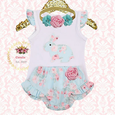 AU Newborn Baby Girls Easter Bunny Romper Bodysuit Pants Shorts Outfits Costume