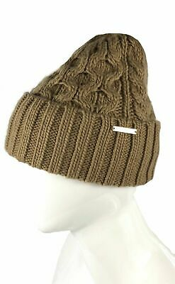 4119cfbec MICHAEL KORS SIGNATURE Beanie Dark Brown With Camel Brown Logo Knit ...