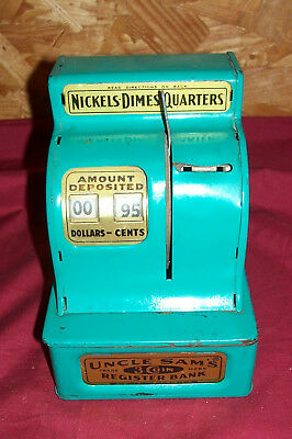Old Uncle Sam's 3 Coin Register Bank Piggy Mechanical Western Stamping Corp Cash