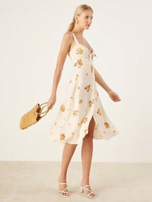 97cefbbde706 New REFORMATION Dress 10 Ivory Floral Front Tie Frankfort Midi Sweetheart  Large
