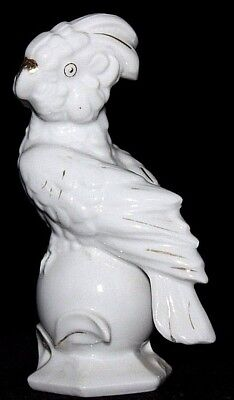 """VINTAGE White Porcelain Cockatoo on Ball, Gilt Accents, TA JAPAN, 4 3/4"""" Tall"""