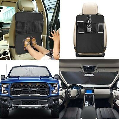 Car Seat Back Cover Protector Kick Clean with Car Sun Shade/Front Window Shade