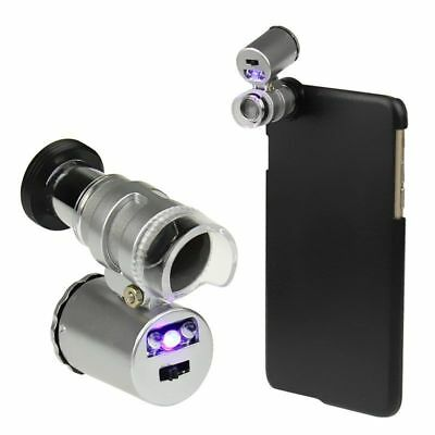 60X Zoom Phone Loupe Microscope Lens LED Magnifier Micro Camera For iPhone 0W9