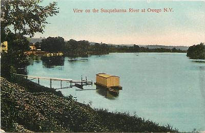 Owego New York~Houseboat @ Dock~View on the Susquehanna River~1909
