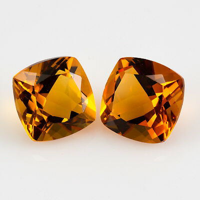 8.19tcw Citrine pair. A square cushion cut and an eye clean, honey yellow colour