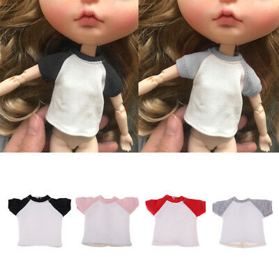 Fashion Doll T-Shirt Short Sleeve for 1/6 Blythe Azone Licca Doll Clothes