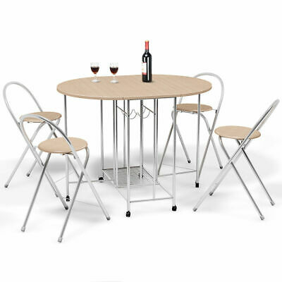 5PCS Foldable Dining Set Table and 4 Chairs Breakfast Home Kitchen Furniture New