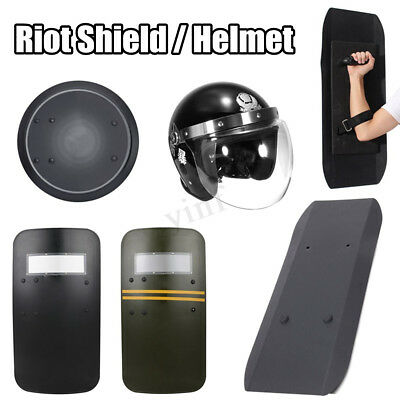 PC/Aluminium Alloy Anti-Riot Helmet Round/Square Shield Handheld Safe Protection