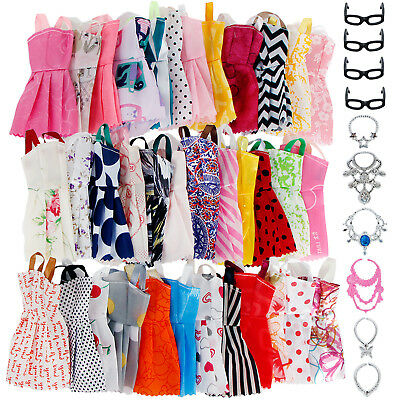 10 Mini Fashion Dresses + 6 Necklace +4 Glasses Clothes For 12 in. Doll Gift