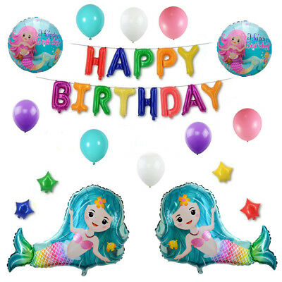 Lovely Mermaid Foil Balloons Happy Birthday Helium Latex Air Ballon DIY Party