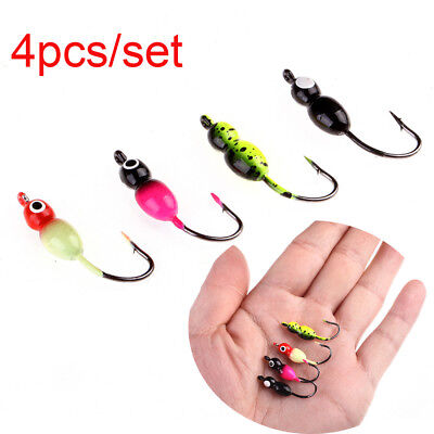 4PCS/SET ICE FISHING Lead Walleye Jig Head Jigs Bait Hooks