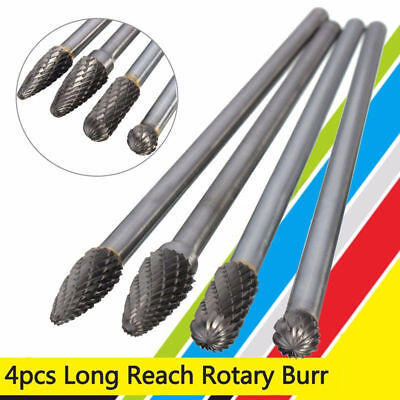 4Pcs Rotary Burr 6mm Shank 6'' Long Reach Double Cut Carbide Tool Kit Durable