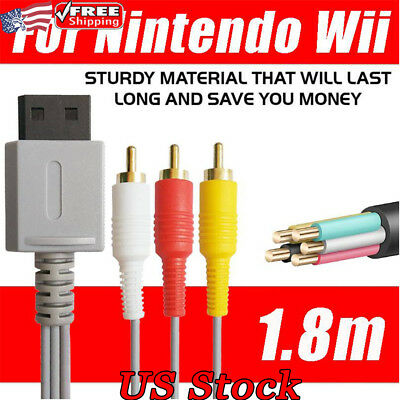 For Nintendo Game Gold plated Audio Video AV Composite 3RCA Cables TV Lead Wire