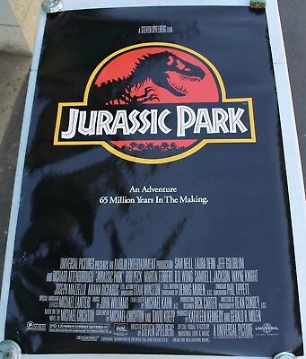 "Rare 1992 Original Jurassic Park Movie Theater Promo Poster 40x27"" Dinosaur OG"