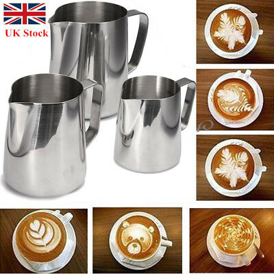 Stainless Steel Milk Frothing Jug Frother Coffee Container Latte Pitcher 0.15-1L