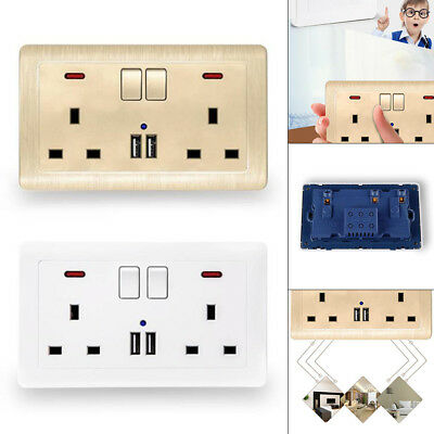 Double Wall Plug Socket 2 Gang 13A w/ 2 USB Charger Port Outlets Flat Plate