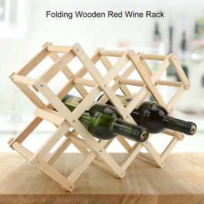 10 Bottle Folding Wooden Red Wine Rack Stand Organizer for Kitchen Bar Display