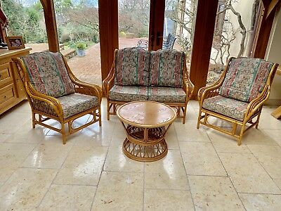 Cane Furniture 4 Piece Sofa, 2 Arm Chairs and Table