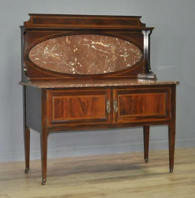 Antique Harris Lebus Mahogany Marble Top & Back Washstand Dressing Table