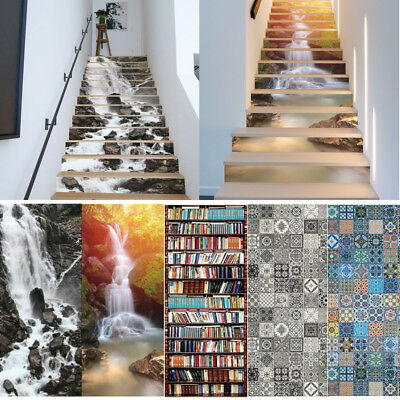 13x 3D PVC STAIRWAY STAIRS RISERS STICKERS STAIRCASE ENTRANCE HALLWAY HOME DECAL