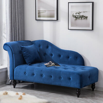 Velvet Chaise Longue Sofa Lounge Chair Seat Buttoned Back Single/Double Ended UK
