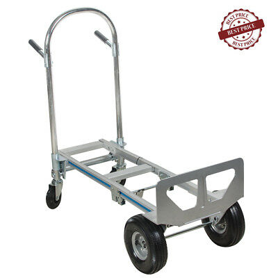 Hand Truck Moving Dolly 2-in-1 Convertible 4-Wheel Platform Steel Cart USA Stock