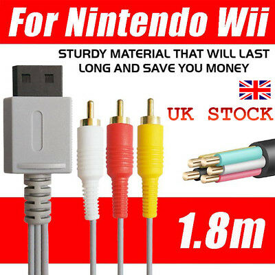 UK STOCK Audio Video AV Composite 3RCA Cable TV Lead Wire For Nintendo Wii Game