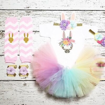 AU Newborn Baby Girls Easter Bunny Tops Romper Tutus Skirt Dress Outfits Costume