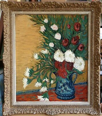 ALPHONSE QUIZET (1885-1955) SIGNED LARGE FRENCH OIL FLOWERS IN VASE to £54,000