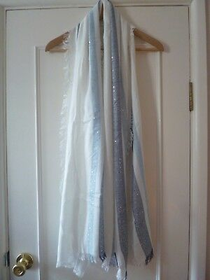 House of Fraser scarf, off white with blue stripes/sequins
