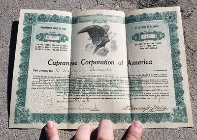 1926 Cupranese Corporation of America Delaware 10 shares