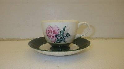 Nautilus Saucer With Unbranded Tea Cup, Green Band, Pink Rose Floral