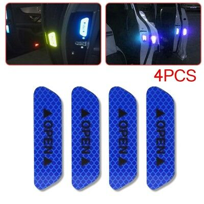 4x Super Blue Car Door Open Sticker Reflective Tape Safety Warning Decal NEW